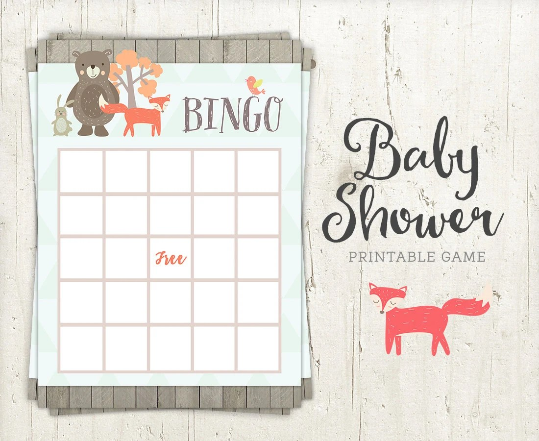 Bingo Baby Shower Game Printable Woodland Creatures Animals