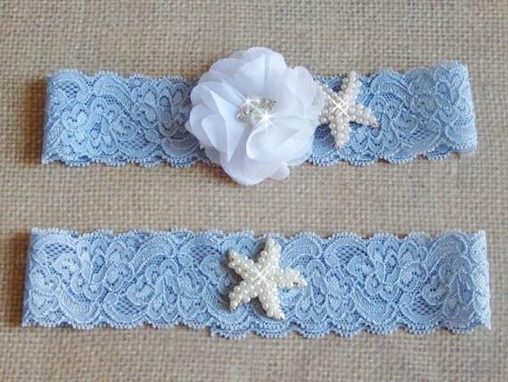 Items Similar To Blue Beach Wedding Garter Set, Starfish