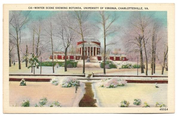 Vintage Linen Postcard The Rotunda University of Virginia