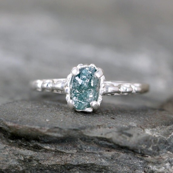Blue Diamond Engagement Ring Raw Uncut Rough By ASecondTime
