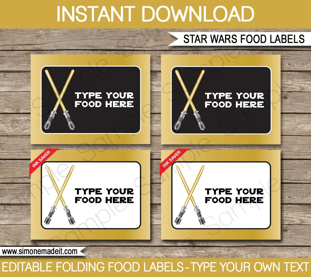 Gold Star Wars Food Labels Buffet Tags Tent By Simonemadeit