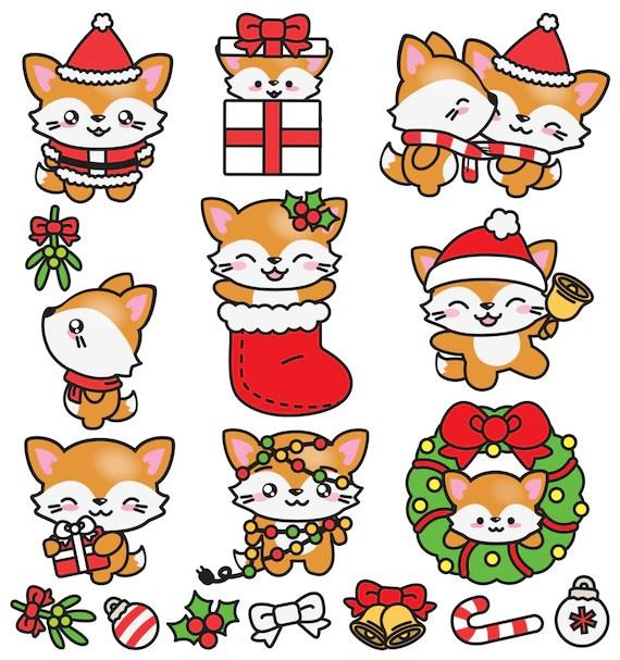 Premium Vector Clipart Kawaii Christmas Foxes Cute