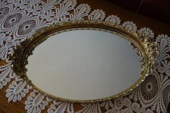 Vintage Elegant Mirror Oval Gold Tone Metal Frame Vanity