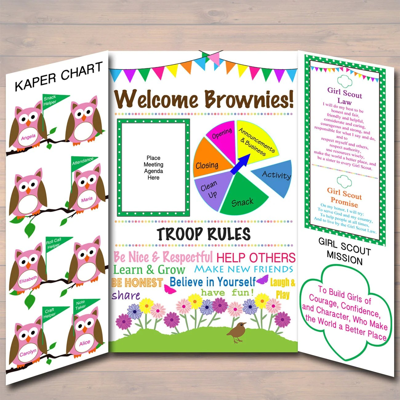 Brownie Kaper Chart Amp Girl Scouts Meeting Display Board
