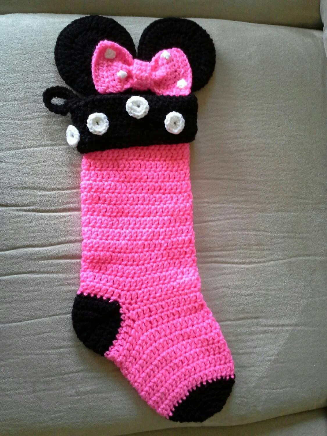 Minnie Mouse Crochet Stocking
