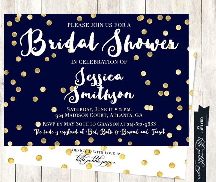 Blue And Gold Bridal Shower Invitations