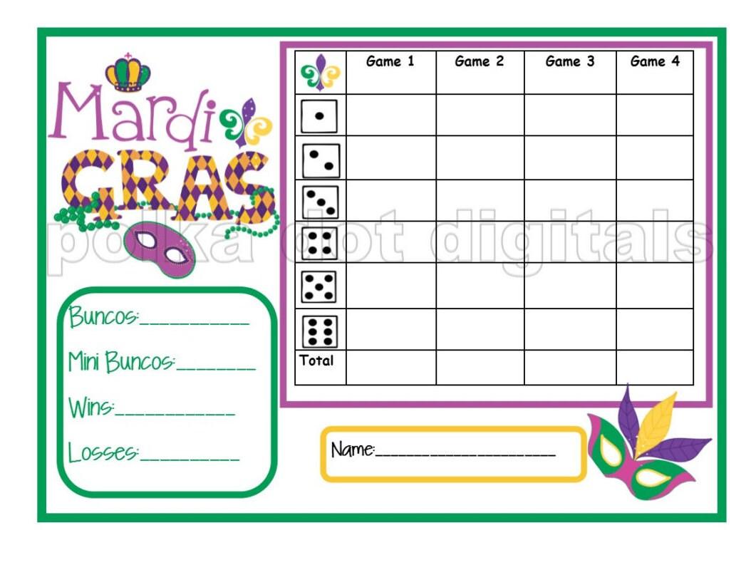 Buy 2 Get 1 Free Mardi Gras Bunco Complete Set Fat Tuesday