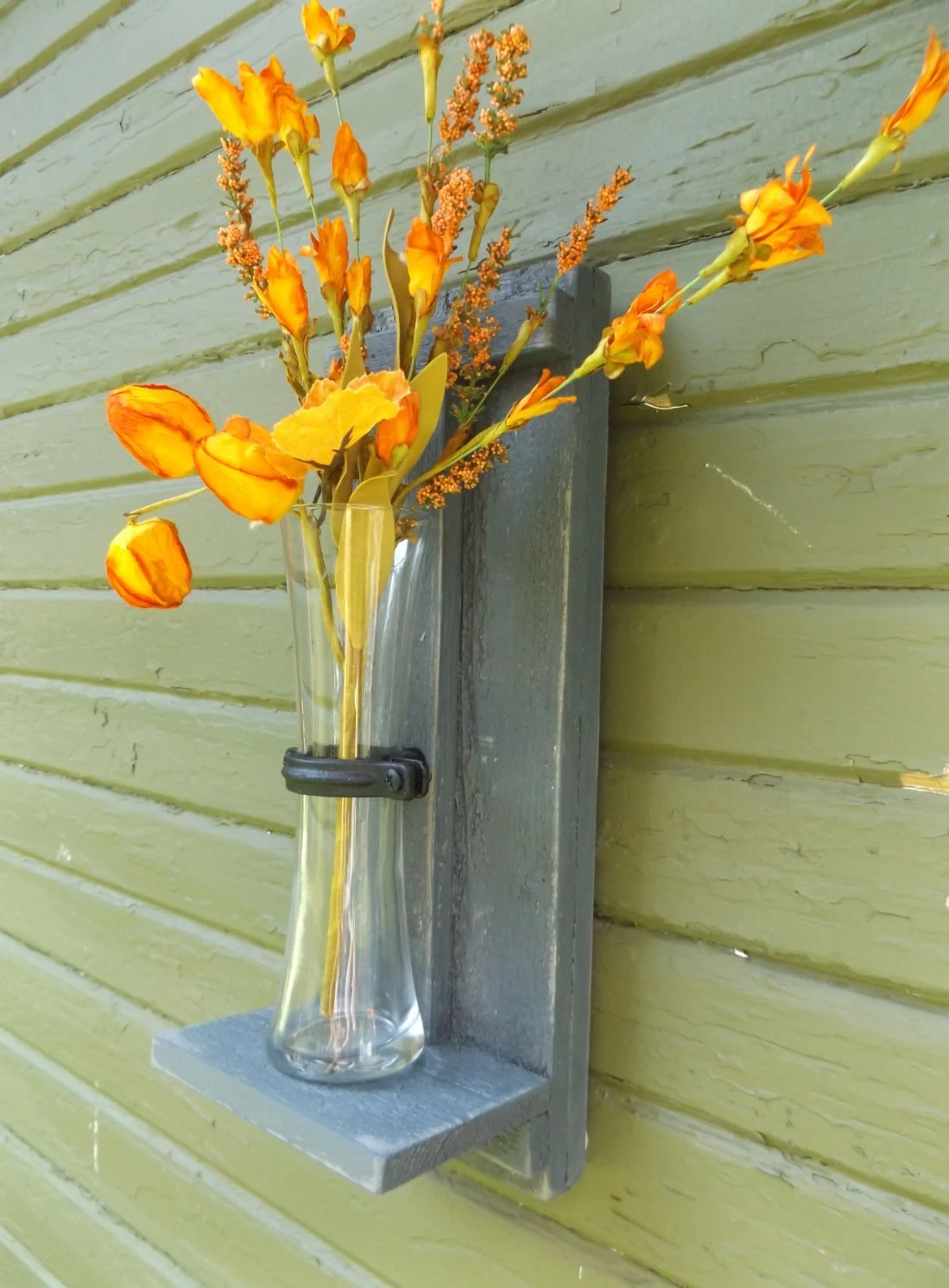 Wall Vase Sconce. Rustic Wall Sconce. Wood Wall Sconce. Flower on Flower Wall Sconces id=30121
