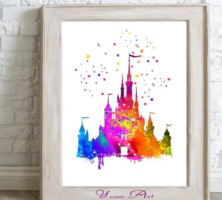 Disney Castle Watercolor Print Home Decor Paint Splatter