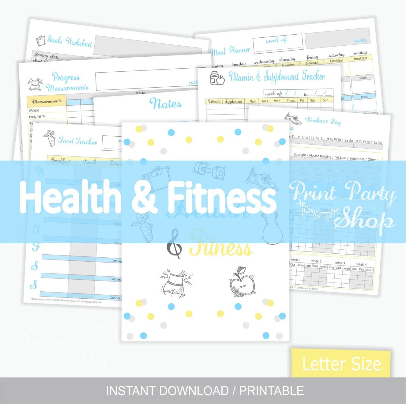 Health And Fitness Planner Printable Planner Letter
