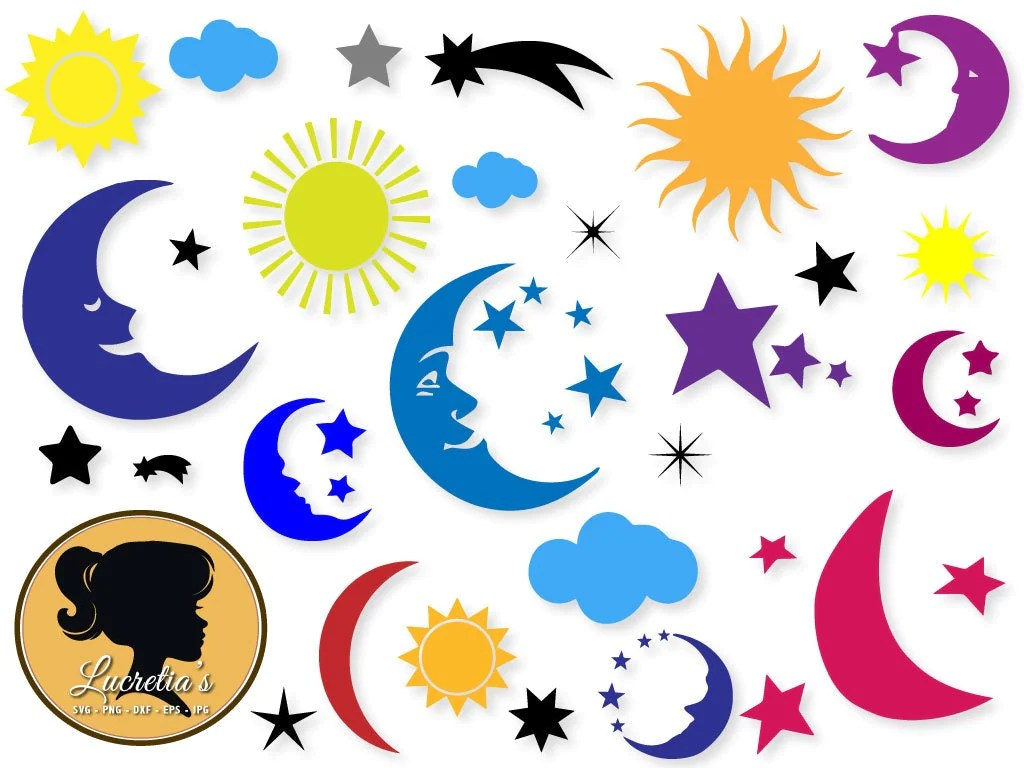 Moon Moon Svg Star Sky Cloud Svg Shooting Svg Sun