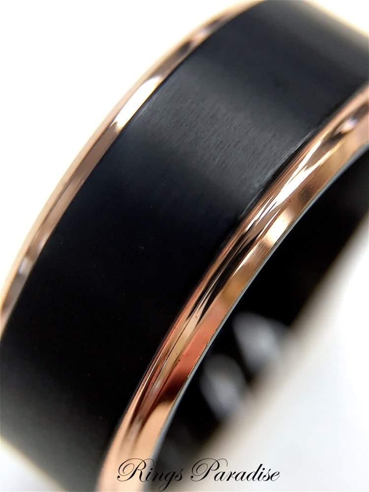 Black Titanium Ring Mens Wedding Band Rose Gold By