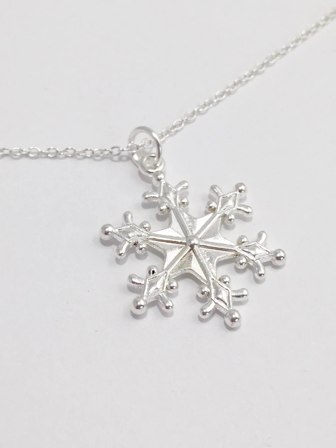 Silver Snowflake Necklace Large Snowflake Necklace Large