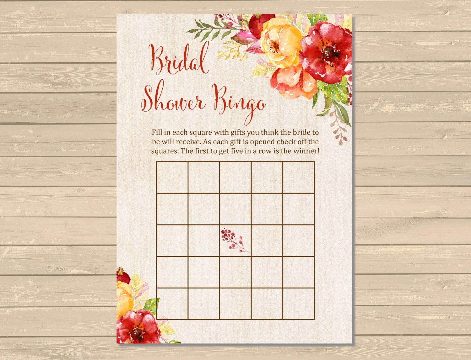 Fall Bridal Shower Bingo Game Printable Fall Bingo Activity