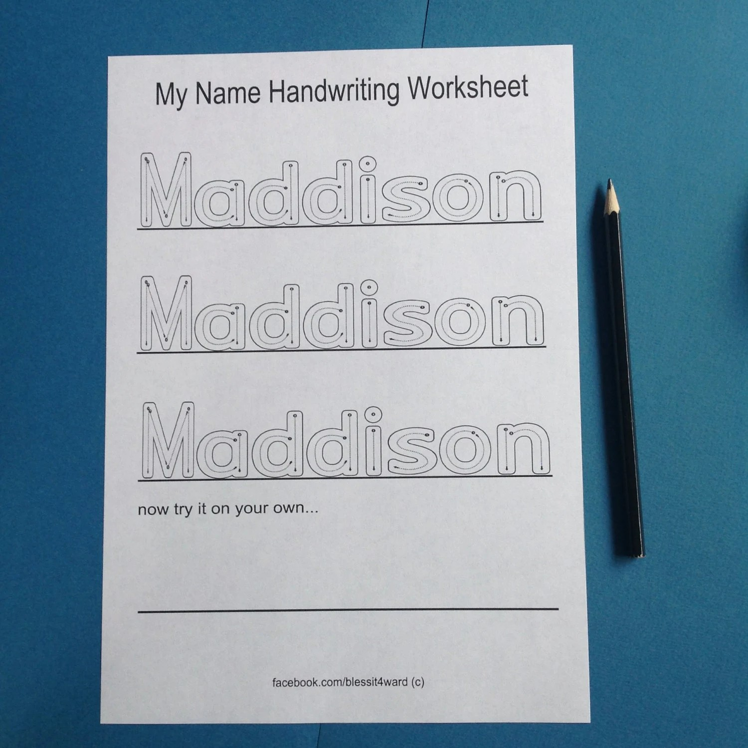 Personalised My Name Handwriting Worksheets Childcare