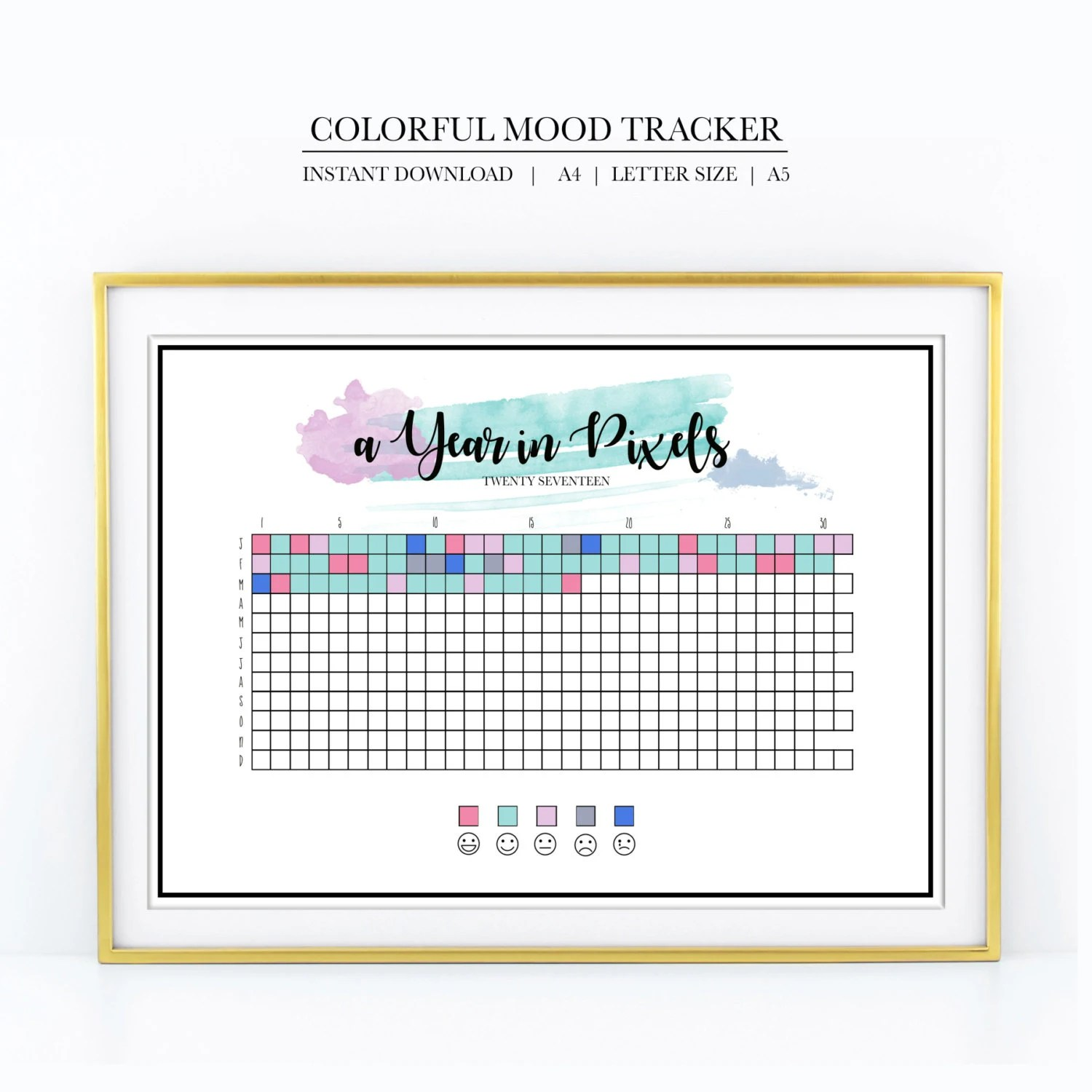 Mood Tracker Year In Pixels Chart Bright Amp Colorful