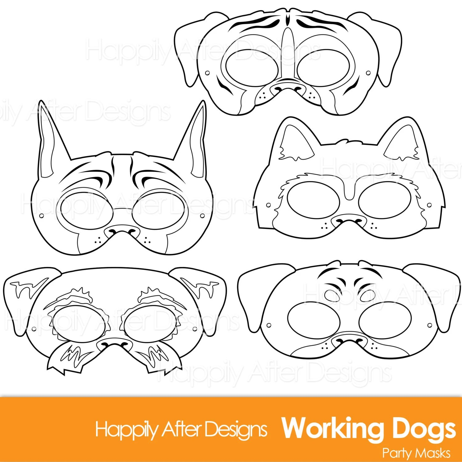 Working Dog Breed Printable Coloring Masks Boxer Mask Great