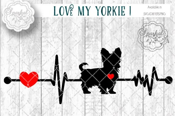 Download Love My Yorkie DOG Svg Cut File Heartbeat Stencil Heart