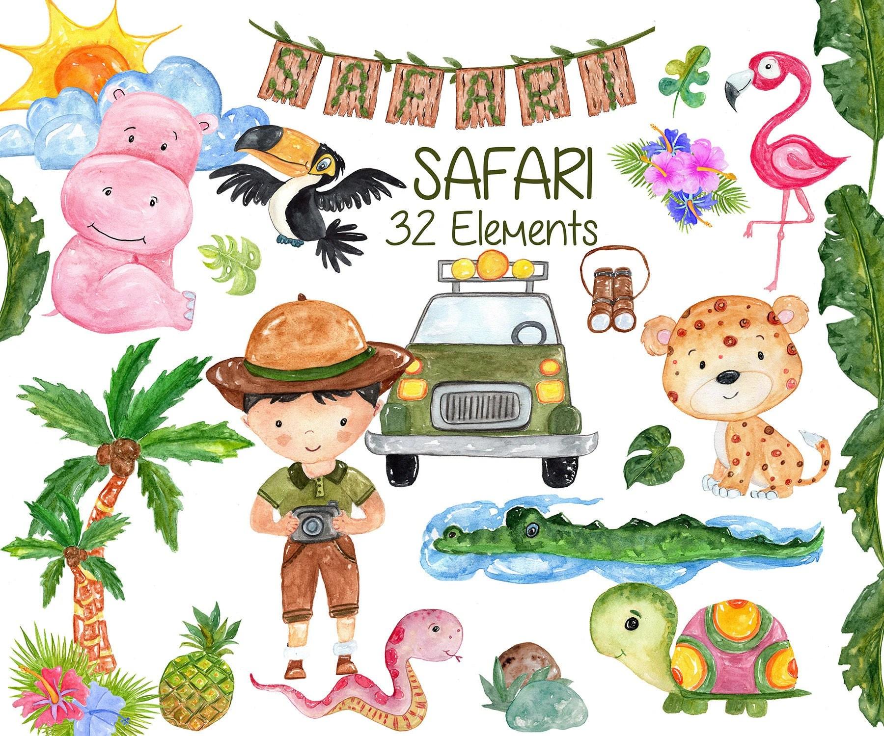 Watercolor Safari Animals Clipart African Animals Wild