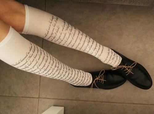 Pride and Prejudice Text Socks, Opaque Printed Knee High , Poetry Nylon Socks, Text Stockings