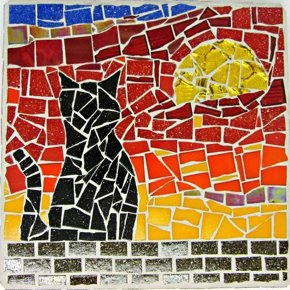 Handmade Silhouette Cat Orange-Red Sunrise Mosaic