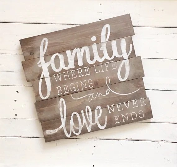Download Family where life begins & love never ends sign // pallet sign
