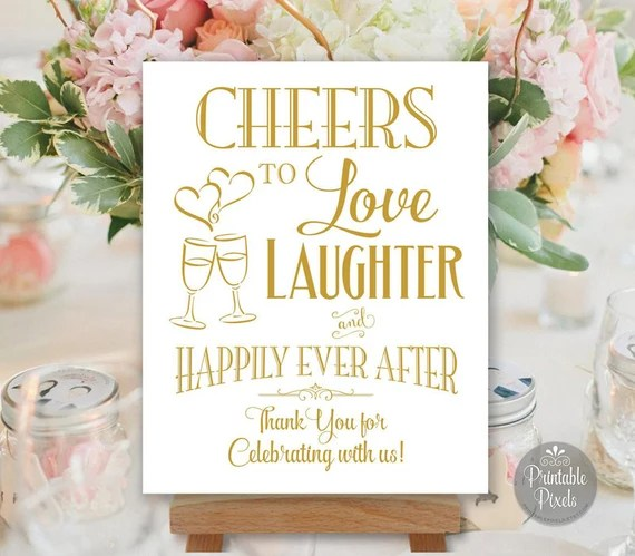 Download Printable Cheers To Love Laughter and Happily Ever After Gold