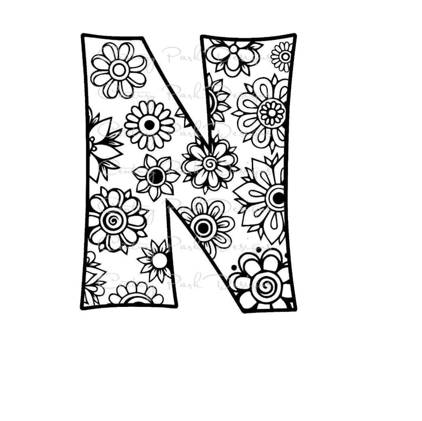 letter n alphabet flowers svg / jpeg / png /pdf / use