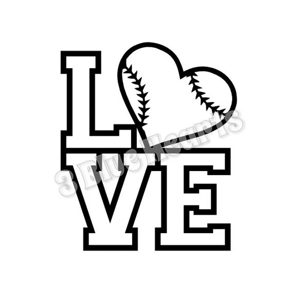 Download LOVE Baseball svg dxf pdf studio jpg, Baseball from ...