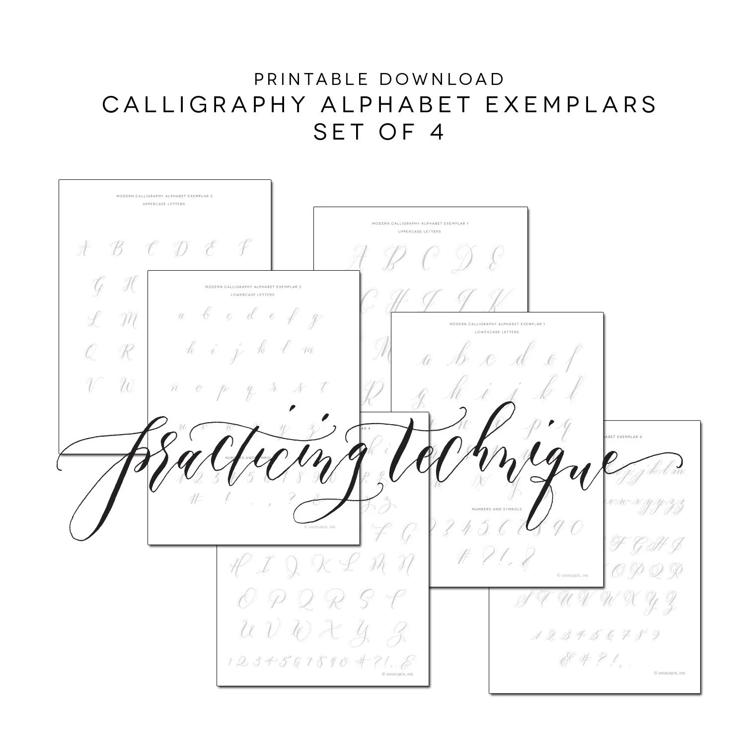 Set Of 4 Calligraphy Practice Alphabet Printable Worksheets