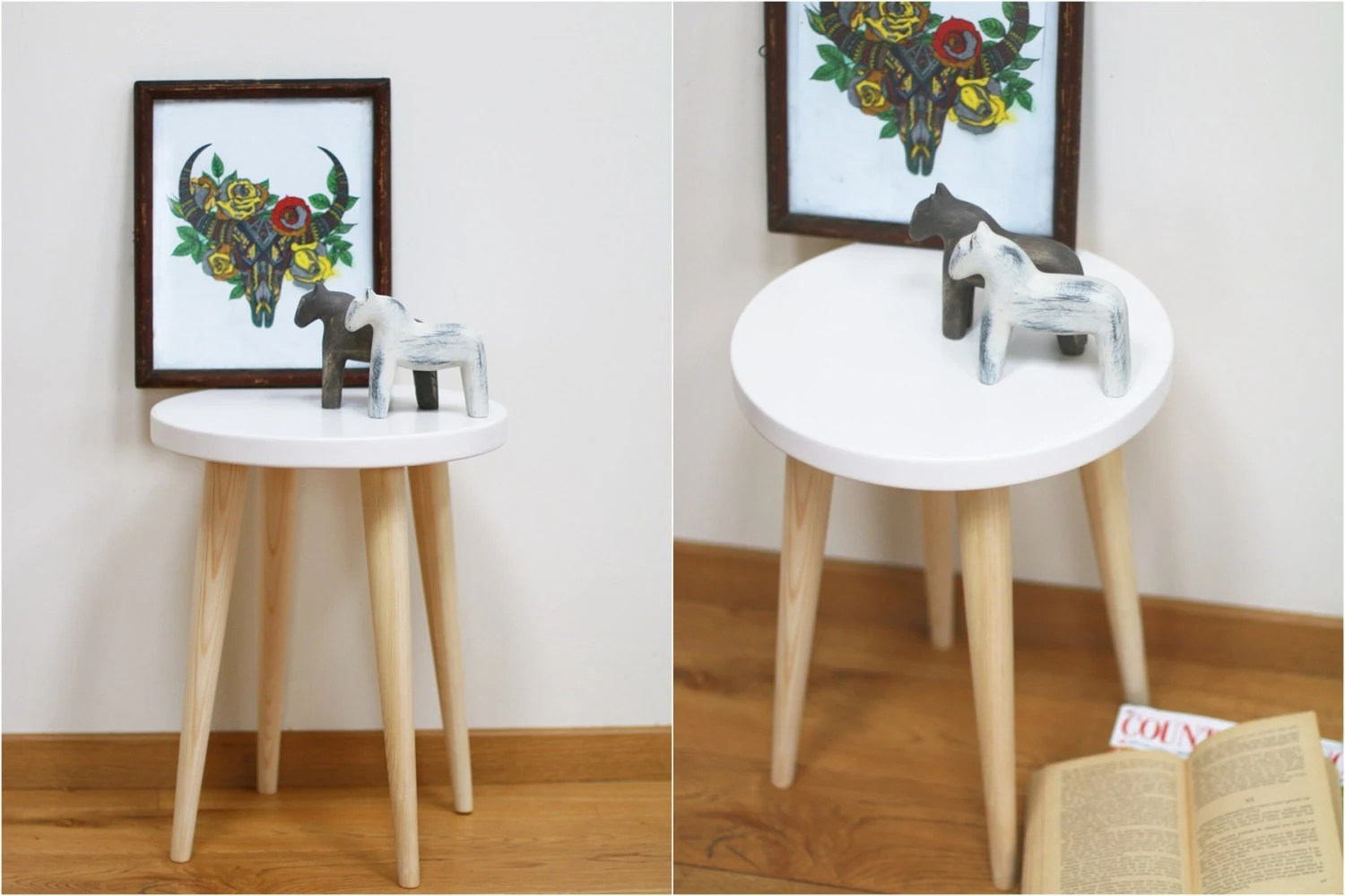 White Stool Round Table Scandinavian Style Side Table Wood