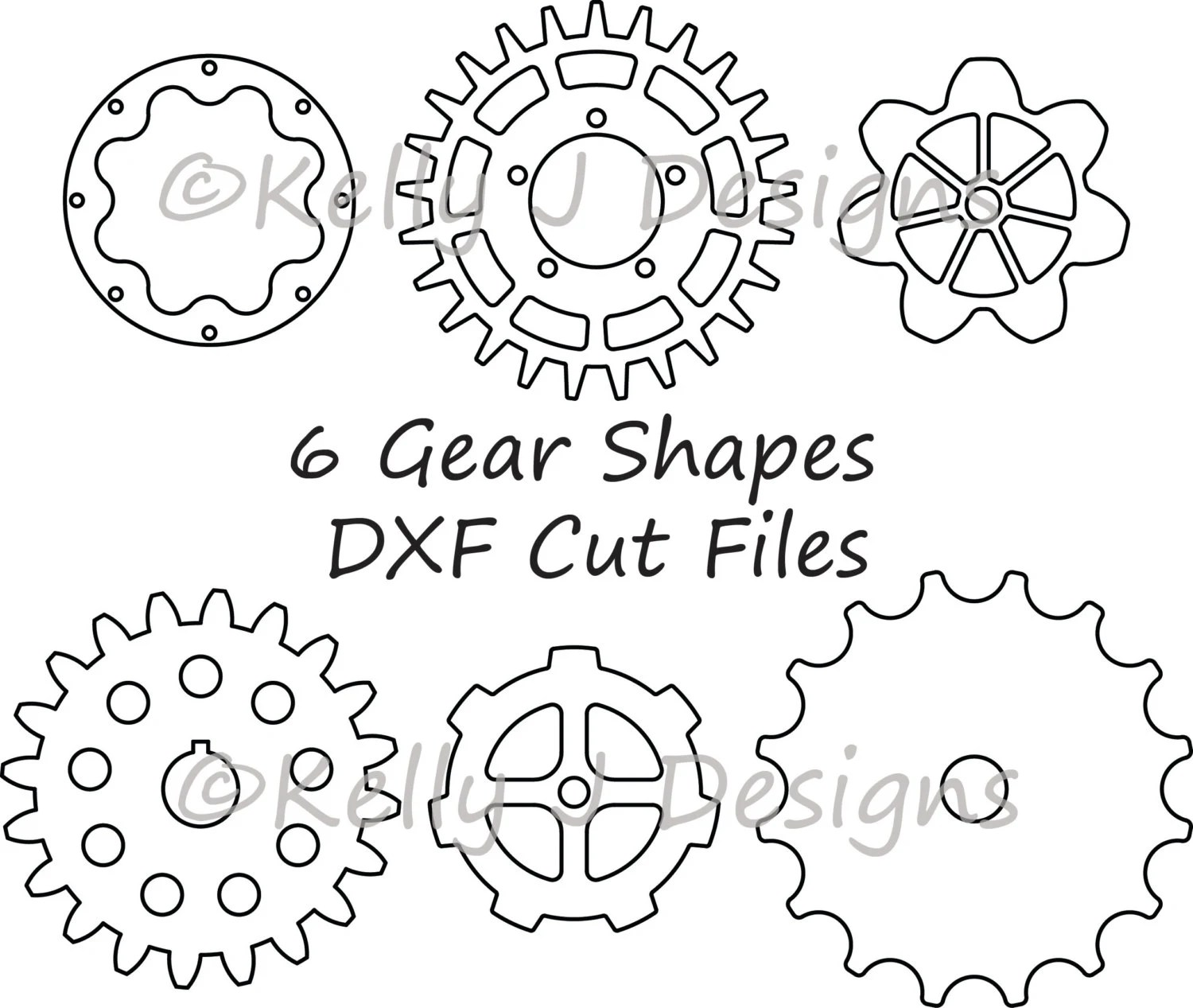 Gear Cut File Gear Dxf Includes 6 Gear Shapes From