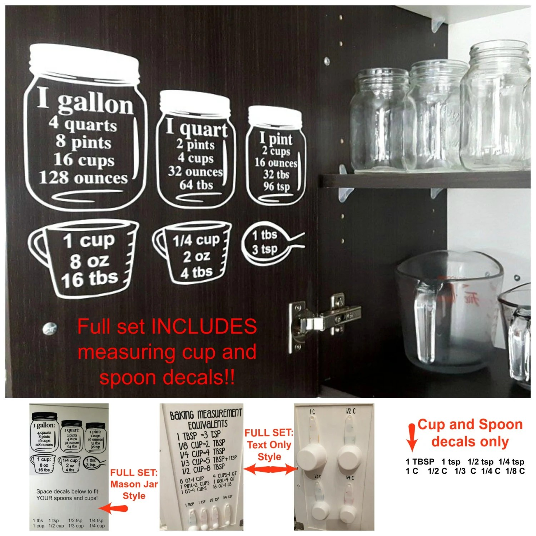Sale Baking Measurement Equivalents Vinyl Wall Decal Sticker