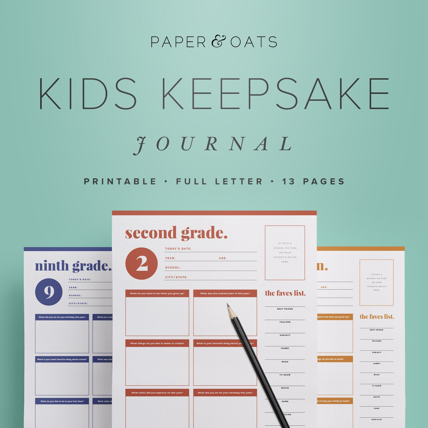 Kids Keepsake Journal Printable Birthday Interview Questions