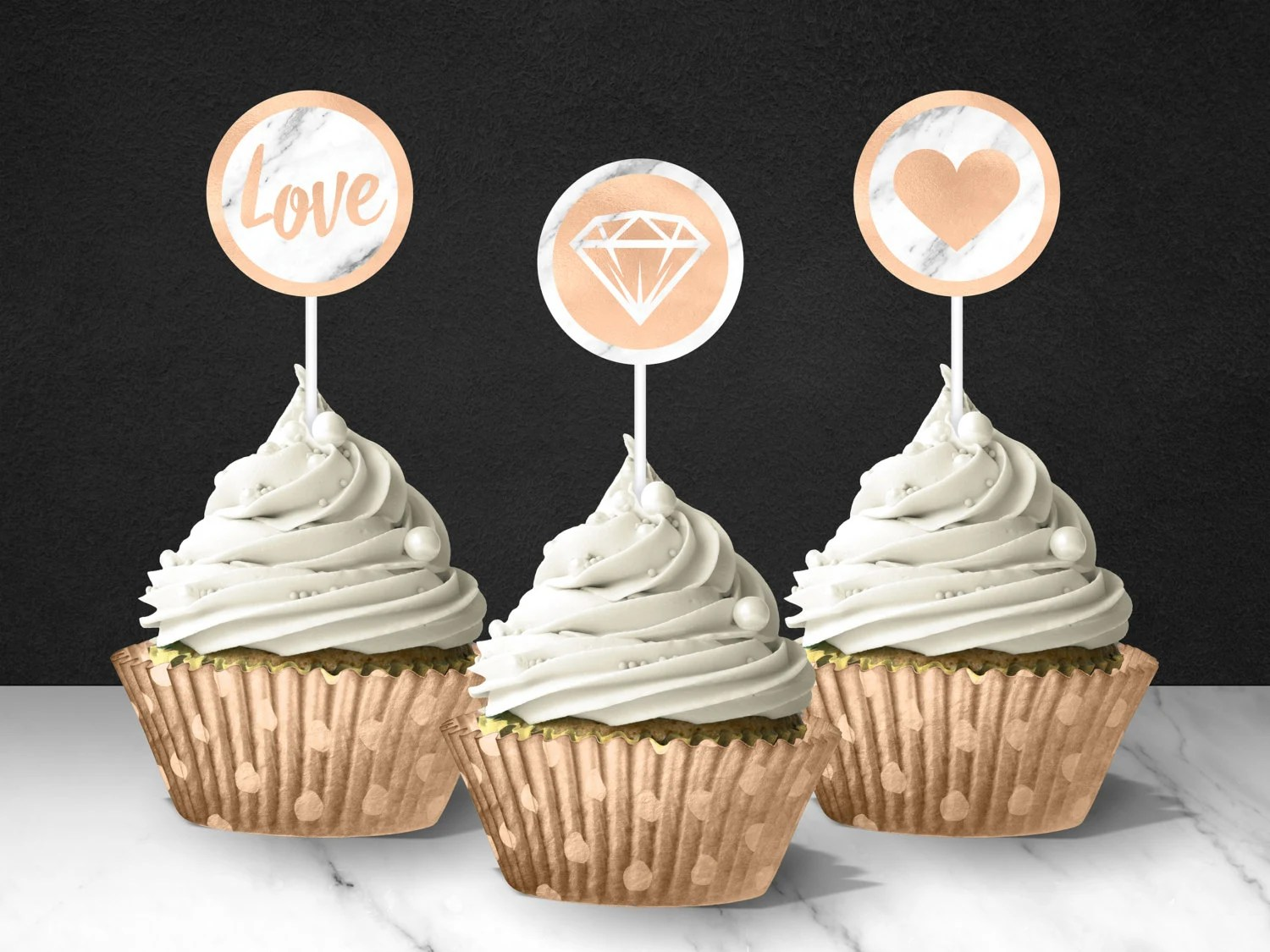 Rose Gold And Marble Cupcake Toppers Bridal Shower