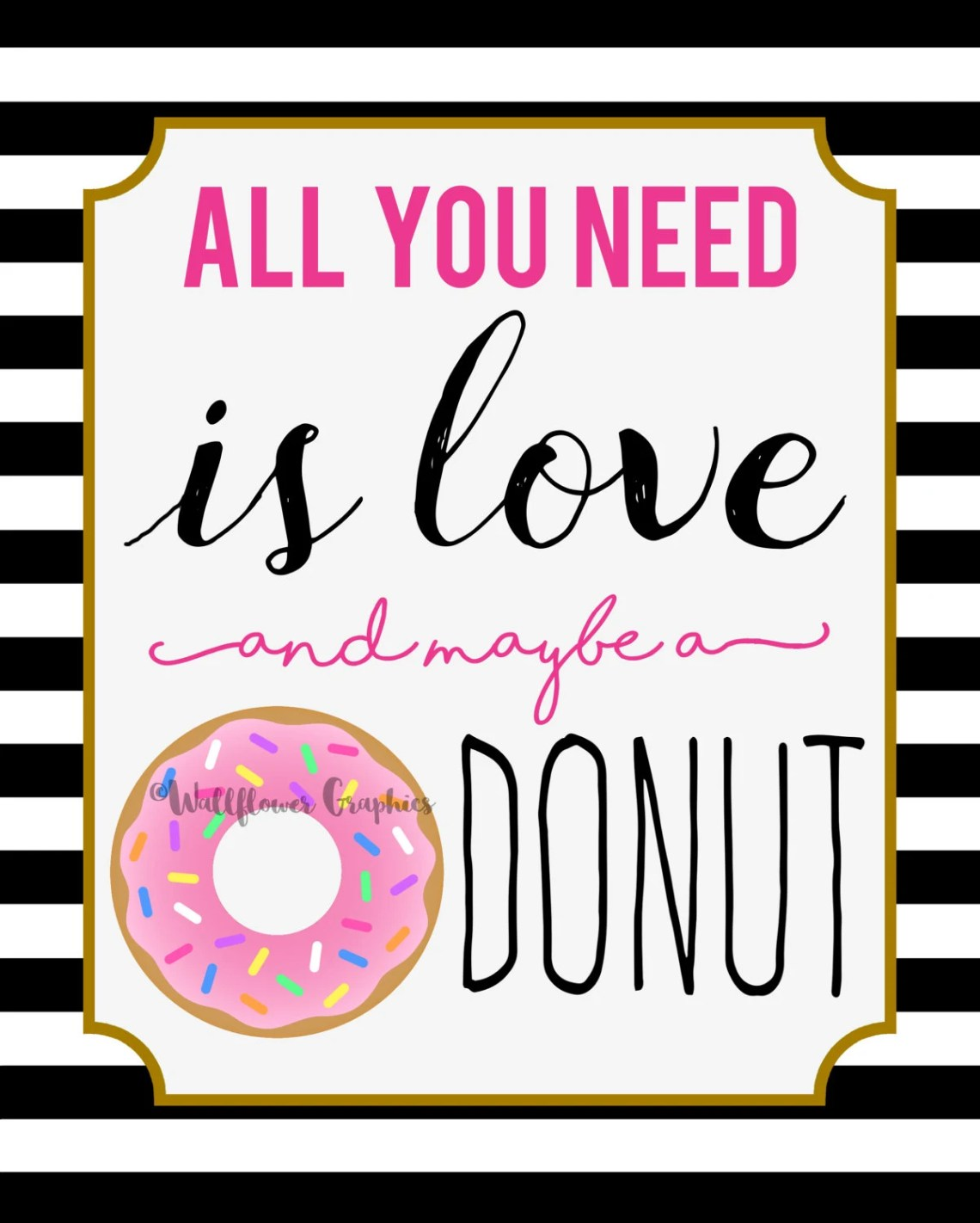 Download All You Need is Love and Maybe a Donut Wall Art // Kate Spade