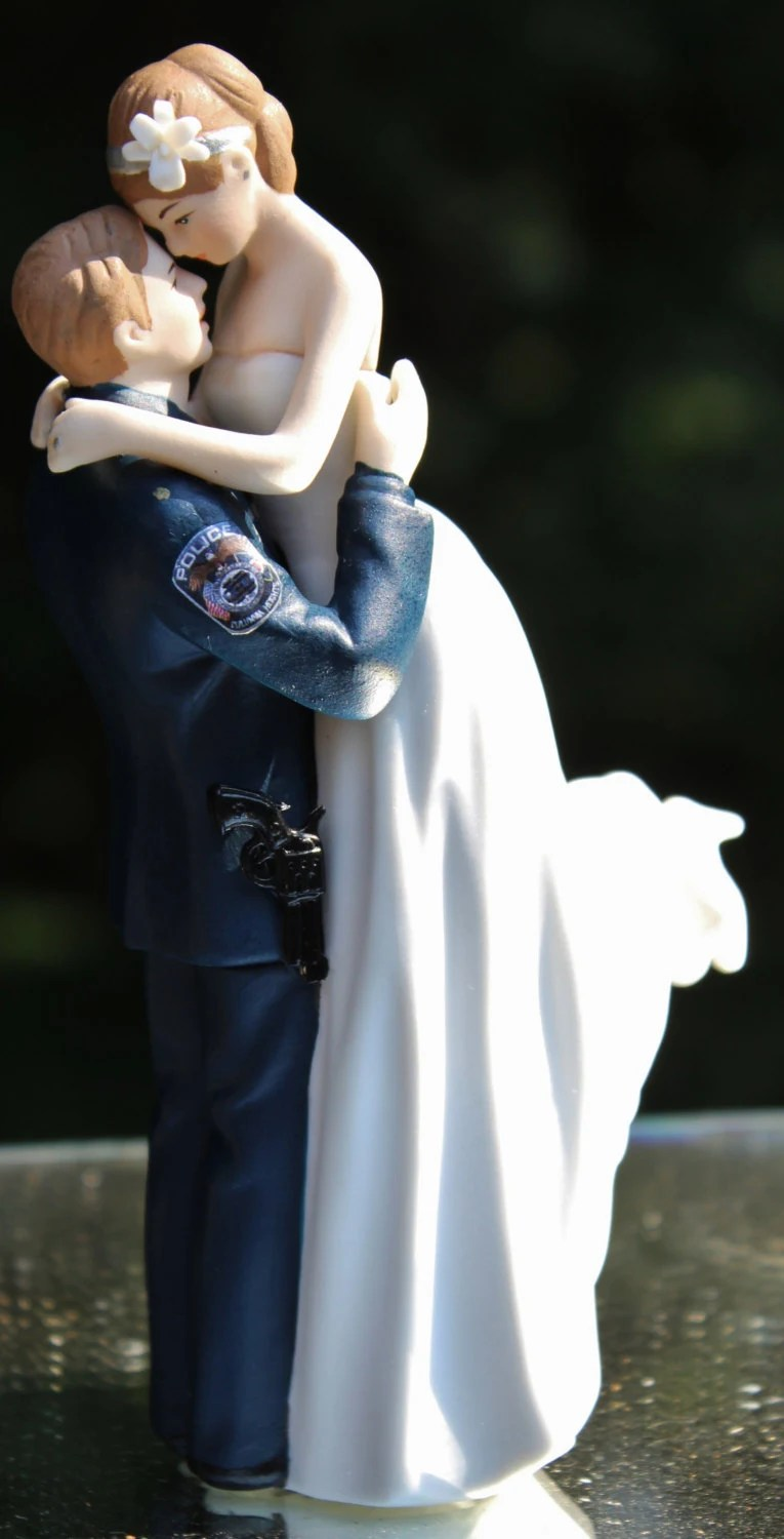 Police Officer COP Law Enforcement Gun Wedding Cake Topper