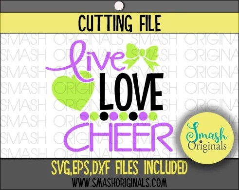 Download Cheer Svg Live Love Cheer Cut File SVG EPS and DXF Cut