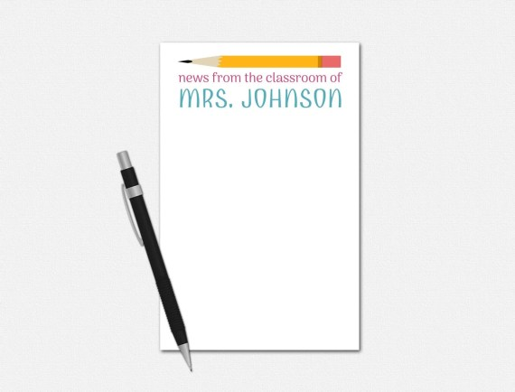 Personalized Teacher Notepad - News From the Classroom Notepad