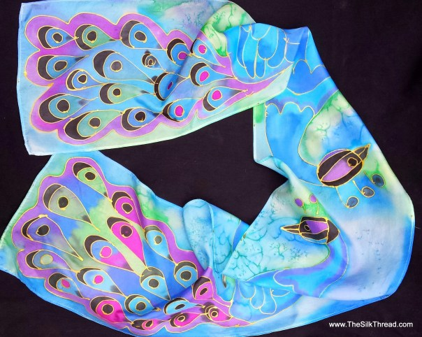 "Peacock Silk scarf with gold lined, hand painted peacocks on blue background, by artist, purple, green birds, original art, 8"" x 54"" OOAK"