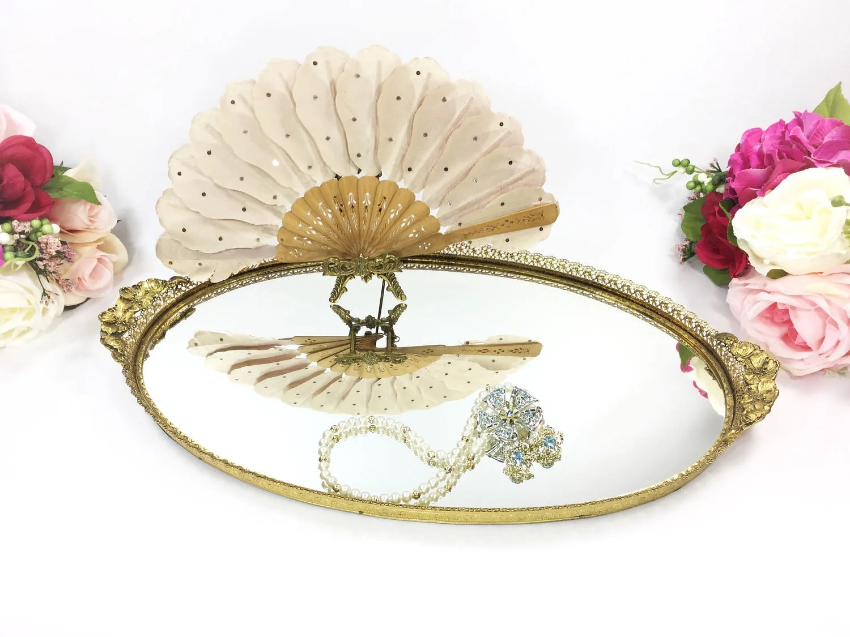 Gold Plated Ormolu Filigree Vanity Mirror Dresser Tray