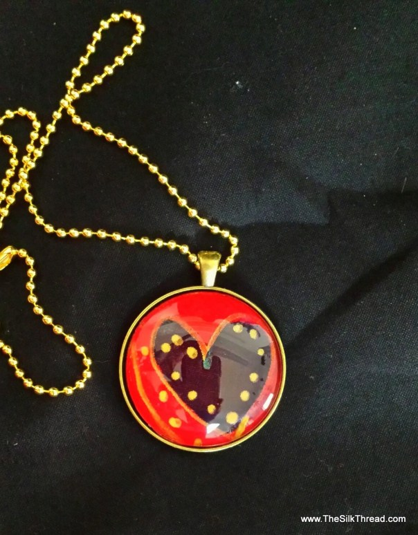 Heart Necklace, silk jewelry, Hand painted silk pendant, 38mm, Handmade silk art by artist, red & gold, free organza gift bag,