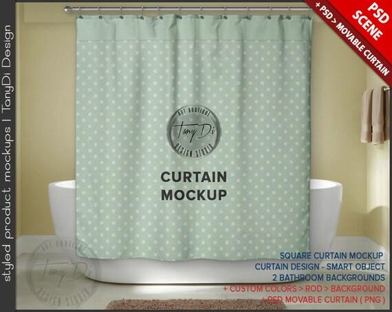Square Bathroom Curtain Psd Styled Mockup Bc5 White Bathtub Interior Custom Colors Movable