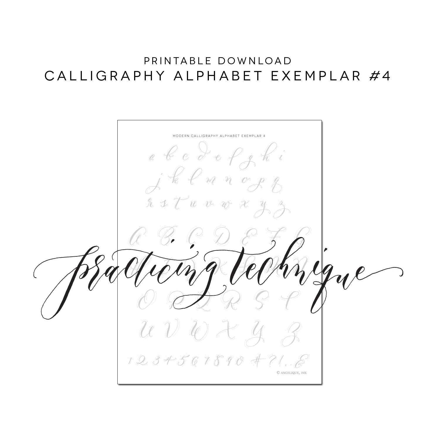 Calligraphy Alphabet Practice Printable Worksheet Alphabet 4