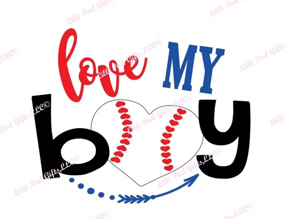 Download love MY boy-baseball heart Cut File Instant Download SVG