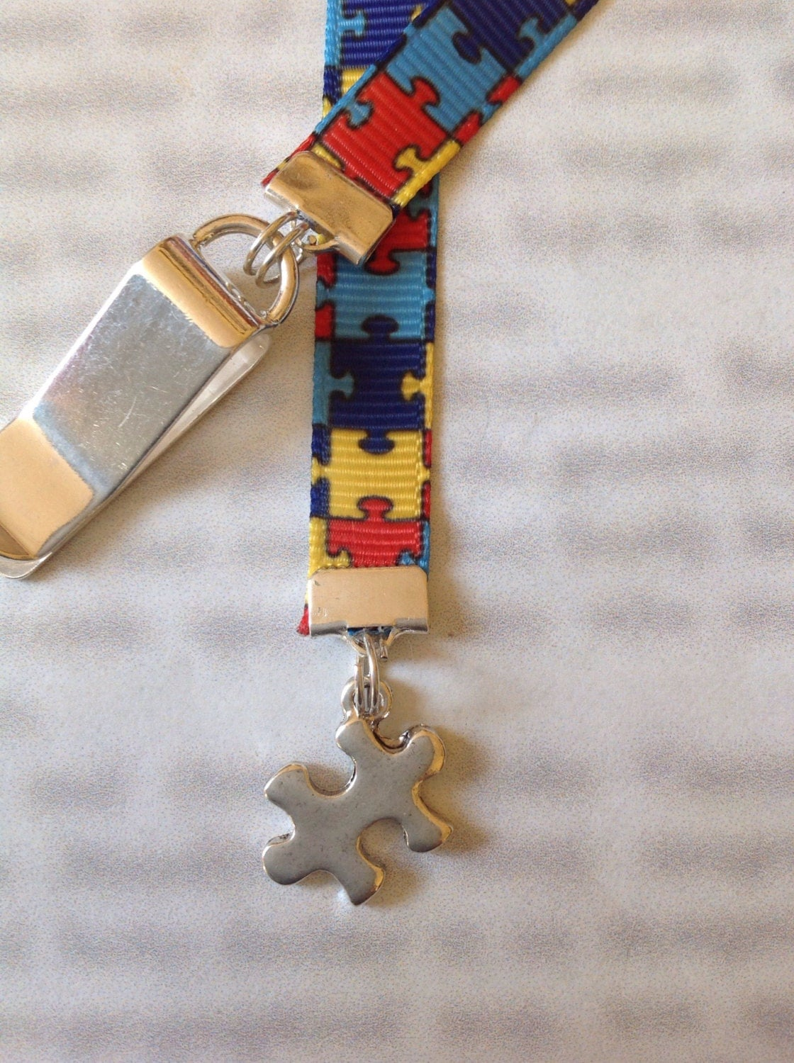 Autism Awareness Puzzle Ribbon Bookmark With Clip Attach To
