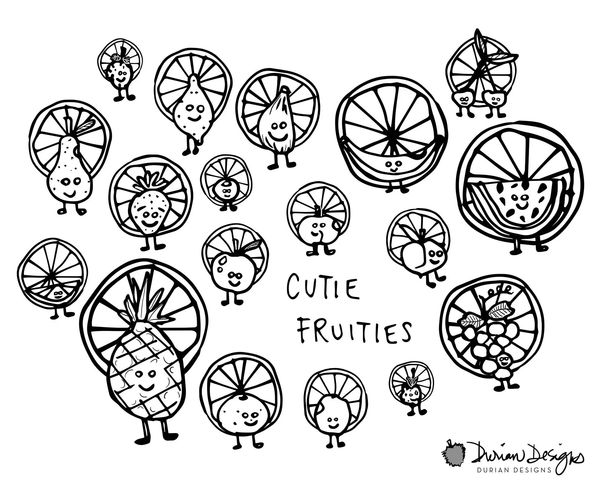 Cute Fruits Smiley Face Clipart Commercial Use B Amp W Outline