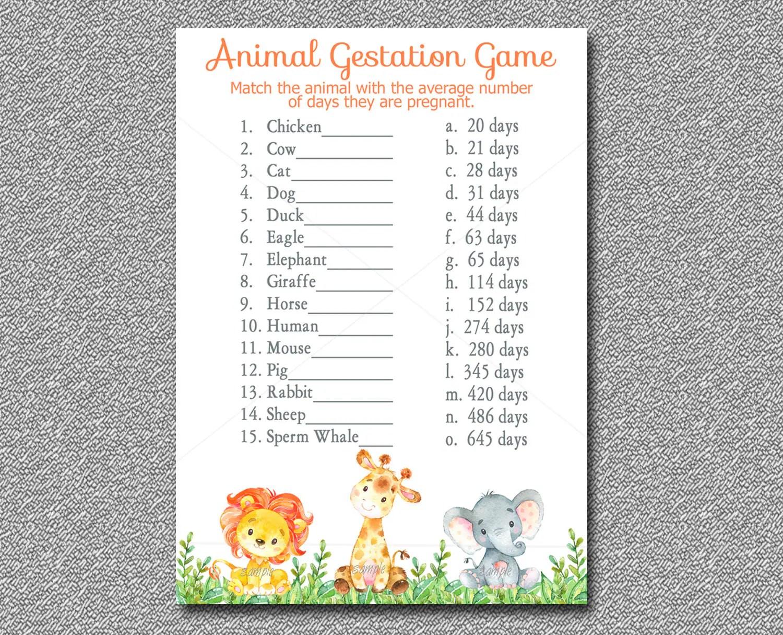Safari Animal Gestation Game Printable Jungle Safari Baby
