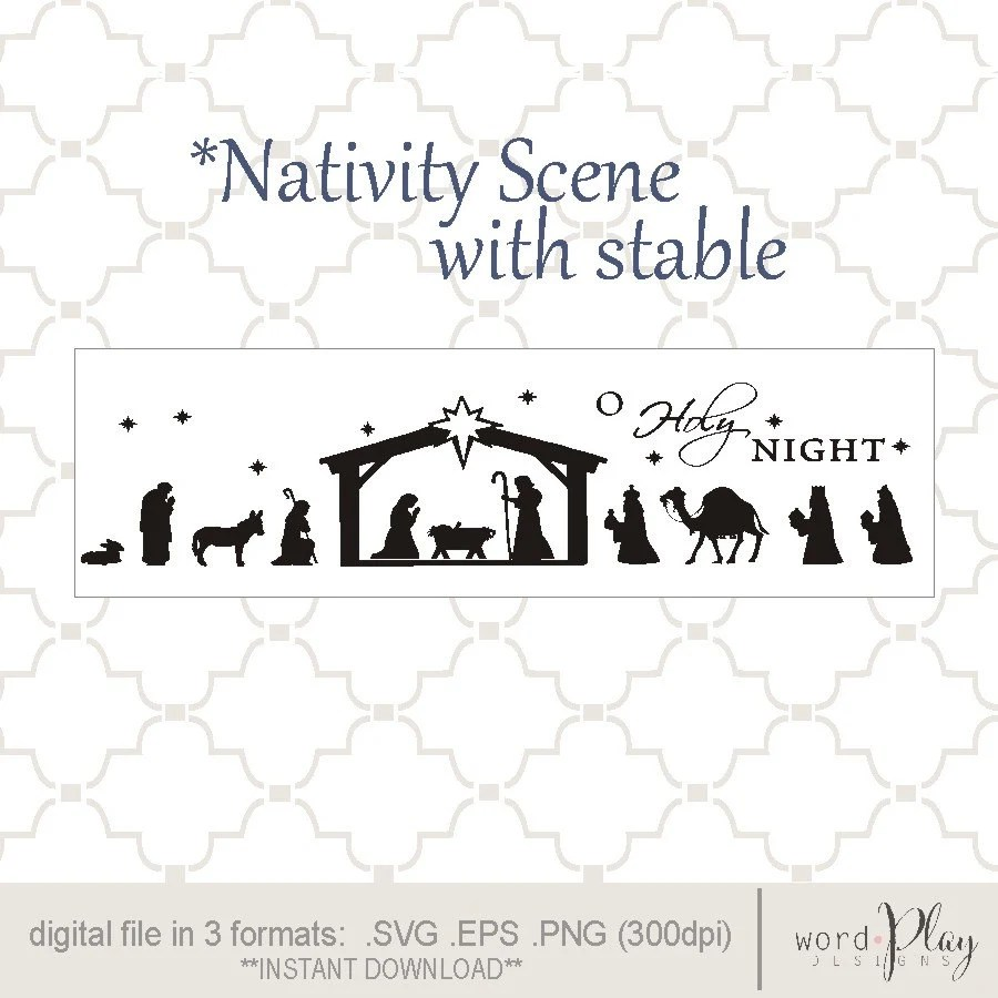 Download SVG Nativity scene with stable PNG EPS digital