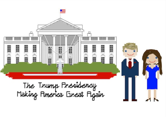 Cross Stitch Pattern - President Trump and White House ...